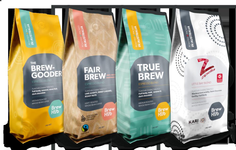 Lineup of BrewHub Coffee showcasing the new bag designs